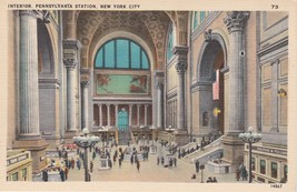 Pennsylvania Station Interior New York City NY Postcard Linen Colourpicture - $3.34