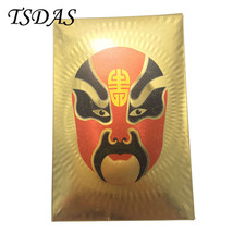 24k Gold Plated Playing Cards China Theatrical Mask Poker Cards Souvenir... - $9.50