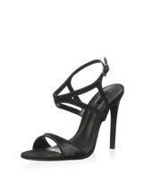 new schutz ocrisia strappy calf hair sandals / heels size 8 black leathe... - $85.00
