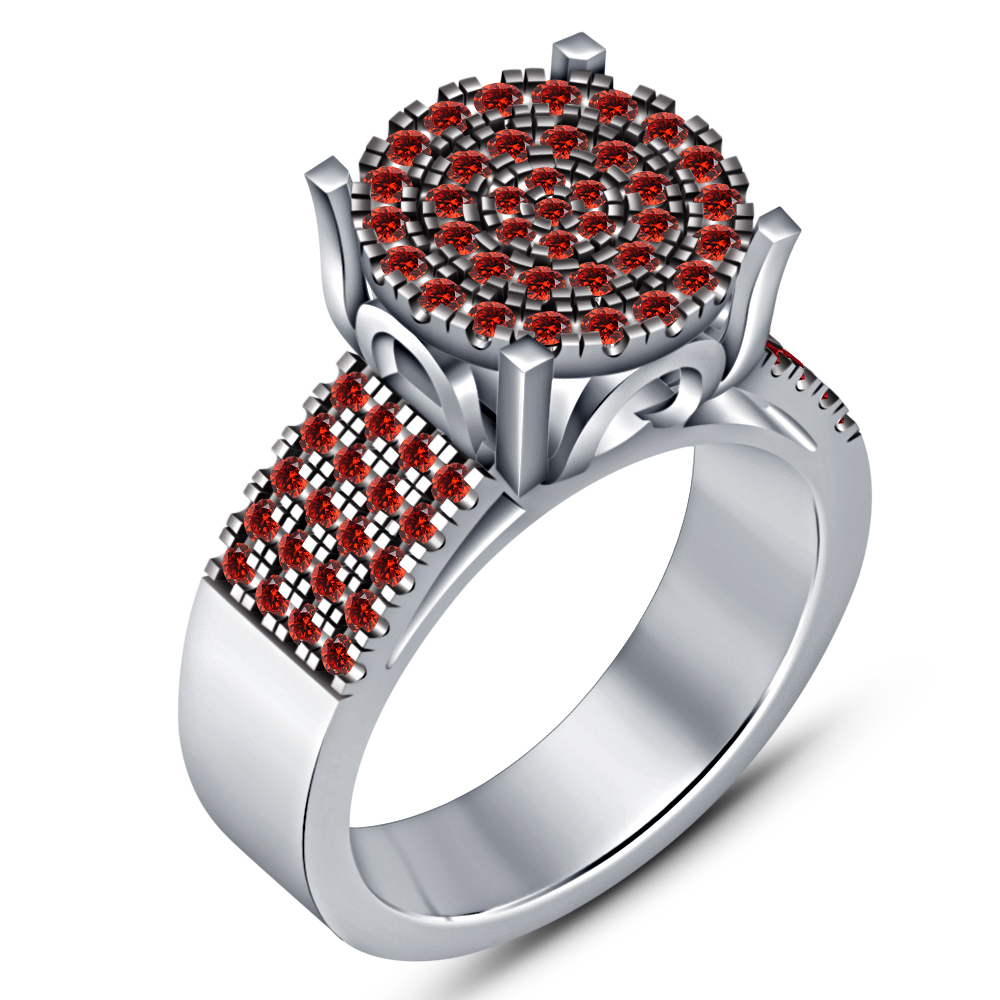Halo Engagement Band Ring 14k White Gold Plated 925 Silver Round Cut Red Garnet