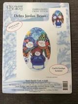 Candamar Cross Stitch Christmas Card Kit Snow Family Snowman 5168 Debra ... - $8.54