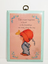 CUTE GIRL Vintage Plaque BIG RED HAT Friendship HALLMARK Card Kid Gift W... - $10.99