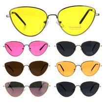 Womens Metal Rim Cat Eye Pop Color Retro Sunglasses - $12.95