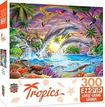 MasterPieces Tropics Fantasy Isle Colorful Dolphins Large EZ Grip Jigsaw Puzzle  - $9.29
