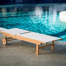 Natural Finish Eucalyptus Wood Sling Chaise Lounge Outdoor Pool Lounger w/Wheels image 2