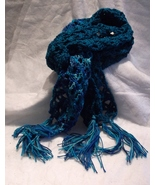 SCARF new crocheted blue aqua teal variegated lacy 7 x 66 fringe - $17.00