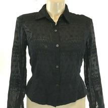Calvin Klein 14 Large Top Button Shirt Black Eyelet Dot Square Texture Peplum LN image 2
