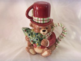 FITZ & FLOYD SNACK THERAPY CHRISTMAS THEME FIGURAL BEAR TEA POT - $248,59 MXN