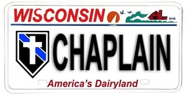 Wisconsin NOVELTY License Plate Law Enforcement - Chaplain with Cross In... - $12.82