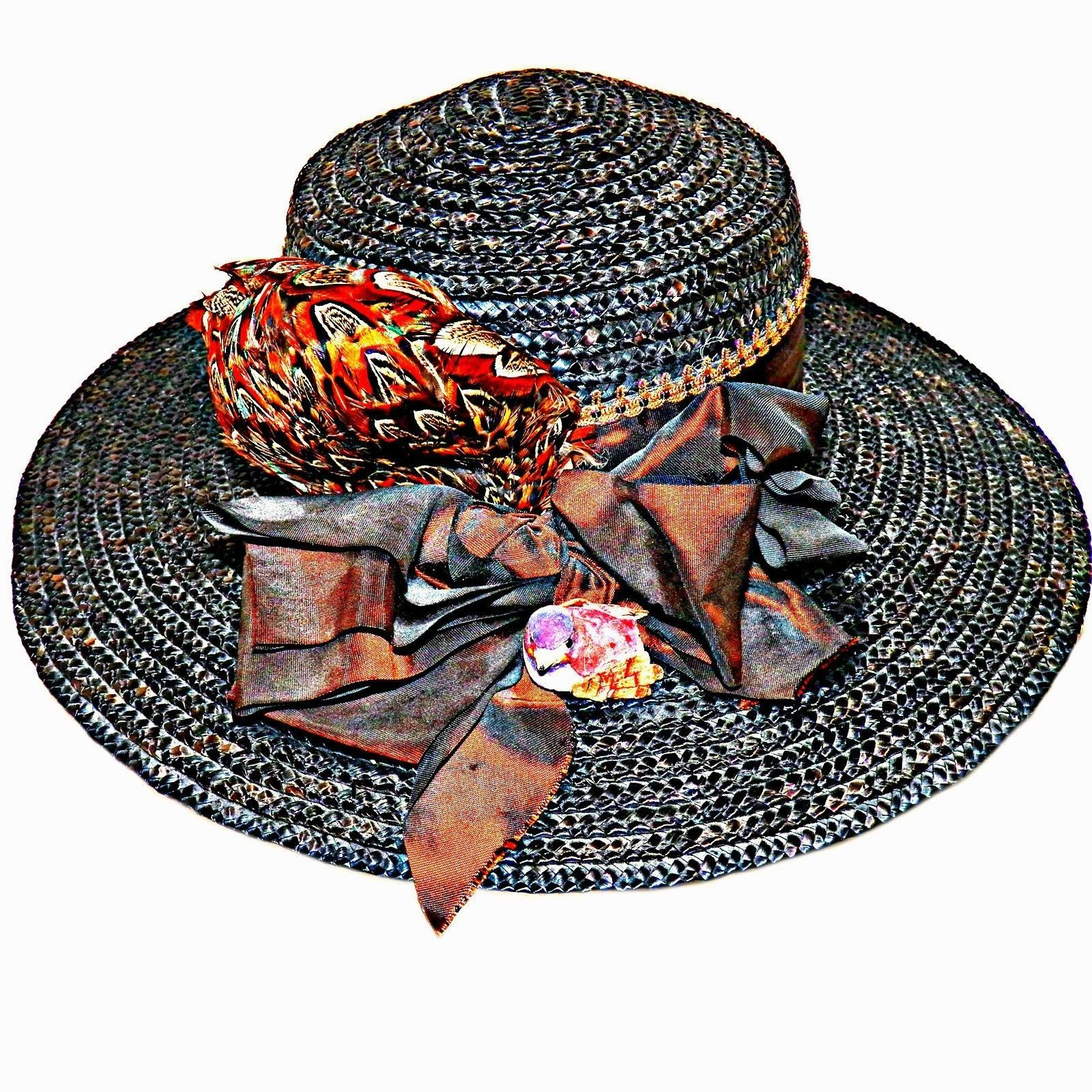 Primary image for Brown Copper Pheasant Feather Straw Capeline Sun Wide Brim Derby Hat sz 6-7/8