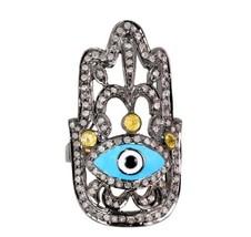 Mano de Hamsa Anillo Plata 925 Pavé de Diamante Oro Evil Eye Esmalte - $467.17