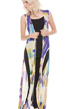 Vibrant Cobalt/Multi Sleeveless Abstract Print Hand-Painted Duster/Vest by Adore image 4