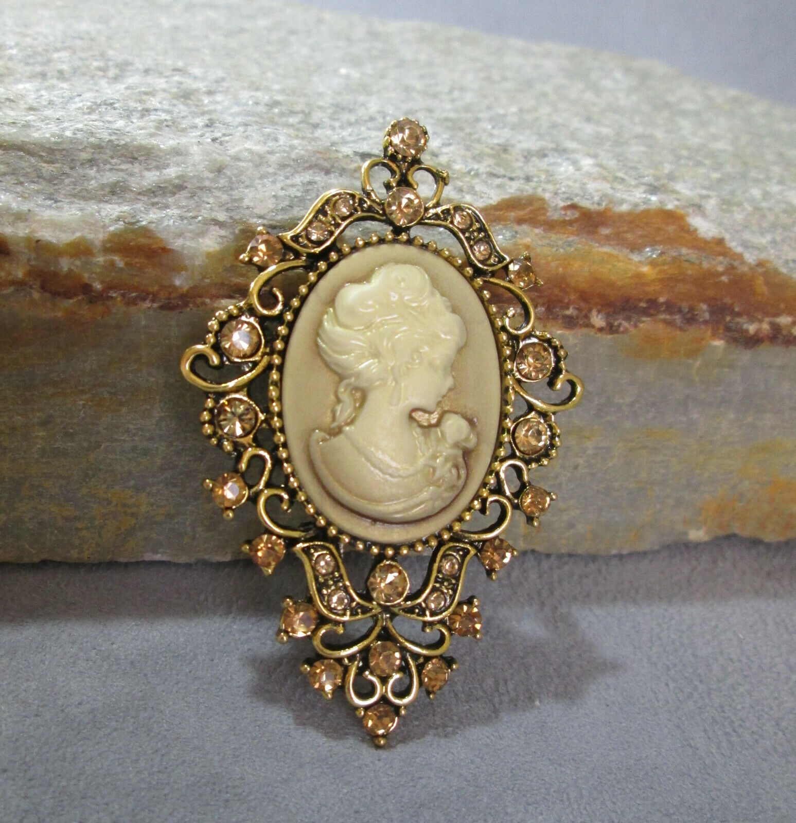 Primary image for Sparkling Cameo Brooch, Victorian Concept with Modern Sparkle, Style No. 02