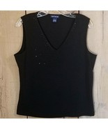 Ann Taylor V-neck Black Shell Cami Tank with Black Rhinestones Size Large - $24.19