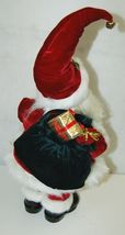 American Silkflower Detailed Santa Figurine Holding Two Gold Colored Bells image 4