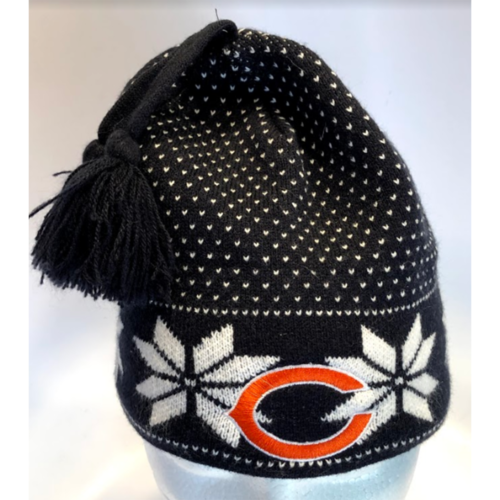 Womens Chicago Bears Snowflake Navy Blue Beanie Hat w/Tassles (77-8) image 1
