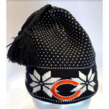 Womens Chicago Bears Snowflake Navy Blue Beanie Hat w/Tassles (77-8) - $14.69