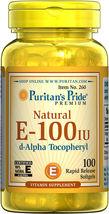 Puritan's Pride Vitamin E-100 iu 100% Natural - 100 Softgels - $20.86