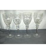 4 Vintage Tall Rogaska Water Goblets Gallia Cut Crystal Signed Retired NICE - $143.55