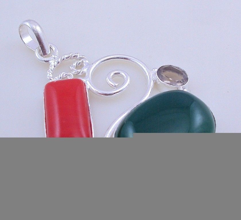Primary image for 16 Gr Smoky-Coral-Green Onyx Silver Overlay  Handmade Jewelry Pendant