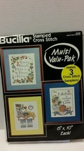 Bucilla Cross Stitch Home and Heart 3 Samplers Stamped Fabric Only   - $24.18