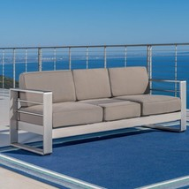 Sofa with Tray Table Modern Aluminum Fabric Outdoor Patio Pool Couch Fur... - $11.772,87 MXN