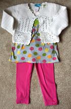 Girl's Size 3 T 3T- 3 Piece White TCP Cardigan, Gray Circo Dots Dress + ... - $6.00