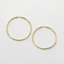 18K YELLOW GOLD CIRCLE HOOPS MINI TUBE 1 MM EARRINGS, DIAMETER 18 MM  image 1