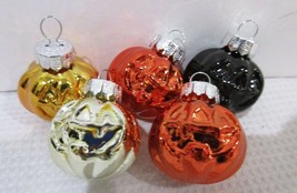 Halloween Thanksgiving MINI Orange Black Glass Pumpkin Ornaments Decor S... - $10.99