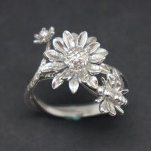 Silver Sunflower and Bee Ring image 2