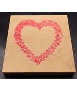 "Heart Frame Made of Hearts Wood Mounted Rubber Stamp Large NEW 5""x5"" Love - $9.85"