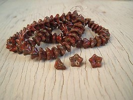 Glass Beads CZECH 100 pcs opaque red with picasso Flowers 06x09mm  - $11.83