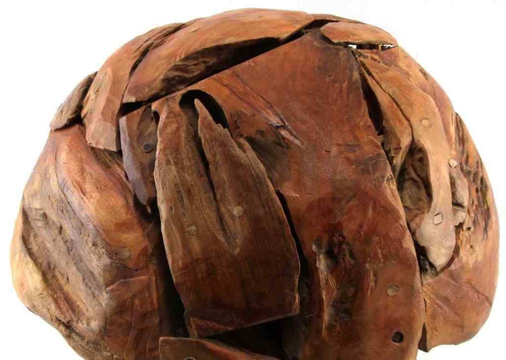 ARTISAN MADE FOLK TEAK WOOD MOSAIC MUSHROOM SCULPTURE POP ART MID CENTURY DECO image 6