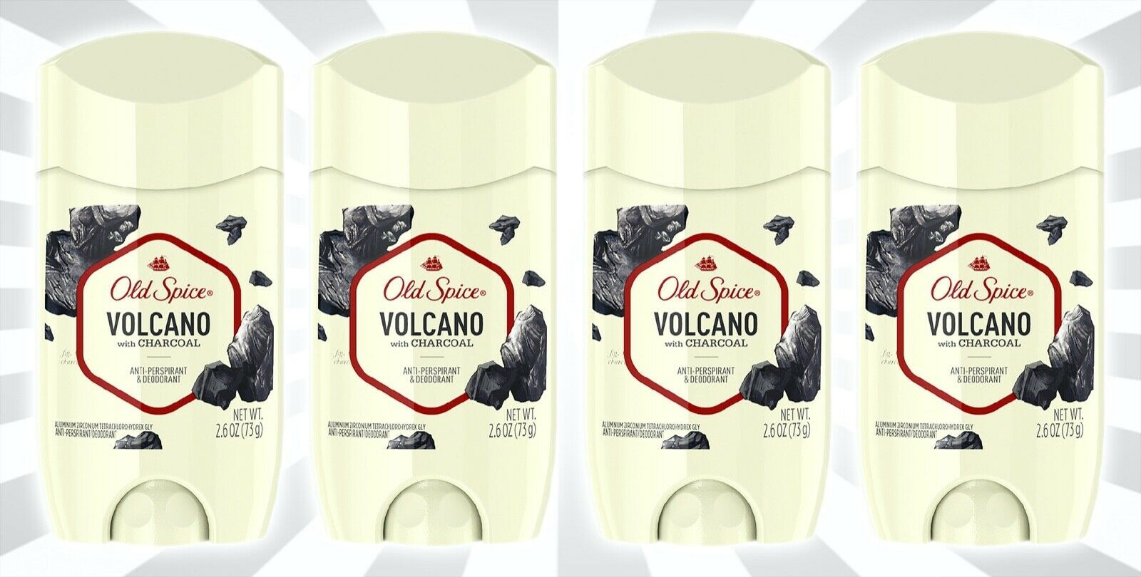 4 Old Spice Invisible Solid Antiperspirant & Deodorant Volcano w/ Charcoal 2.6OZ