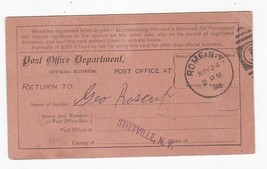 POSTAL SERVICE REGISTRY RETURN RECEIPT ROME NEW YORK MAY 24 1906  - $1.98