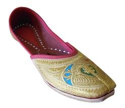 Women Shoes Indian Handmade Traditional Leather Mojari Flip Flops Gold US 6  - £24.26 GBP