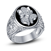 Mens Ganesha Wedding Engagement Diamond Pinky Ring 925 Sterling Solid Si... - $115.99