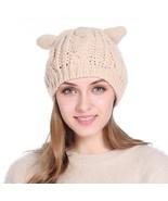 Women Winter Beanie Devil Horns Cat Ear Crochet Braided Knit Ski Wool Ca... - $8.99