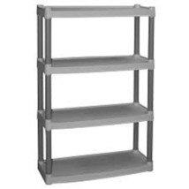 4 Tier Shelf Plastic Storage Unit Home Shelving... - $39.55