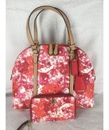 New COACH Pink Floral Dome Satchel 31341 & East West Universal Wristlet ... - $181.99