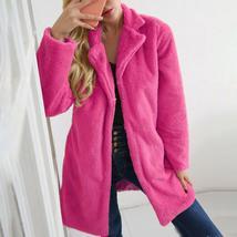 Women's Trendy Pink Thicken Faux Fur Lapel Parka Collar Jacket Winter Coat image 4