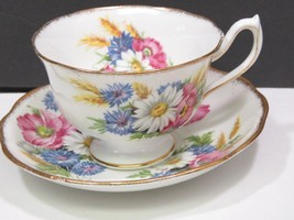 ROYAL ALBERT HARVEST BOUQUET FOOTED CUP 8 OZ GOLD BRUSH TRIM PINK BLUE F... - $31.68