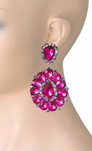 "3.25"" Long Cluster Clip On Earrings Fuchsia Pink Rhinestones Drag Queen,... - $18.95"