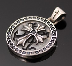 Men Sterling Silver Solid Circular Cross Pendant Charm Gothic Rider Hip ... - $106.92