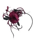 Feather Accent Headband Fascinator - Burgundy OSFM - $29.33
