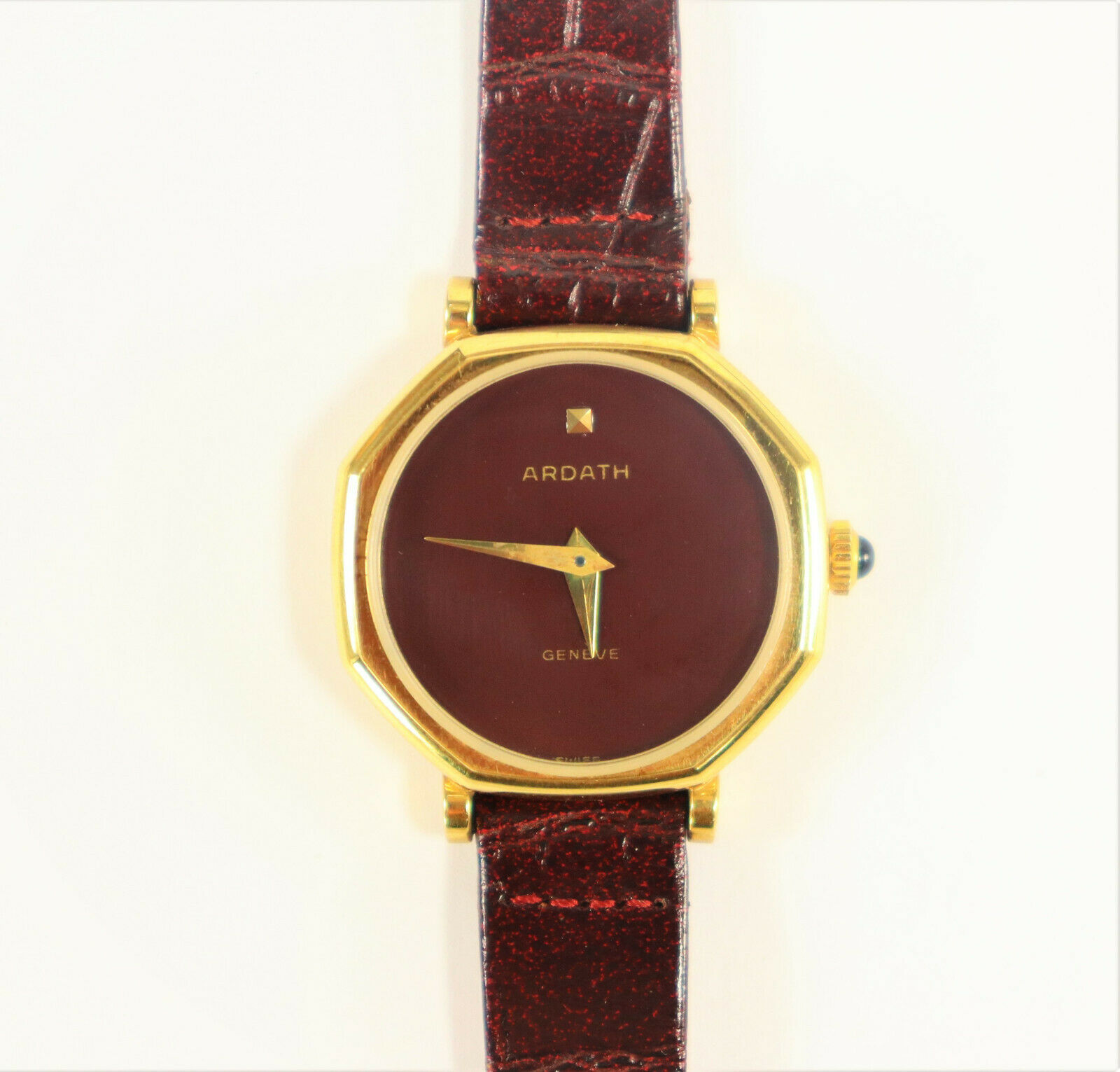 Primary image for Ardath Ladies Swiss Made Watch Gold Plated Burgundy 1980's Vintage Brand New