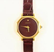 Ardath Ladies Swiss Made Watch Gold Plated Burgundy 1980's Vintage Brand... - $295.00