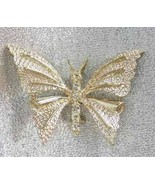 "Gerry's Mid Century Modern Gold-tone Butterfly Brooch  Vintage 1960s 2"" - $12.95"