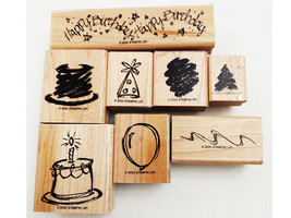 Stampin' Up! Two-Step Stampin', Sketch a Party Stamp Set, Rubber On Wood