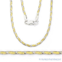1.6mm Herringbone Link Chain Necklace .925 Italy Sterling Silver 14k Yel... - $64.14+
